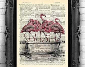 Flamingo Art Print on Dictionary Page Flamingos Bathroom Decor Funny Wall Decoration Flamingo Wall Art, Anniversary Gifts for Girlfriend 043