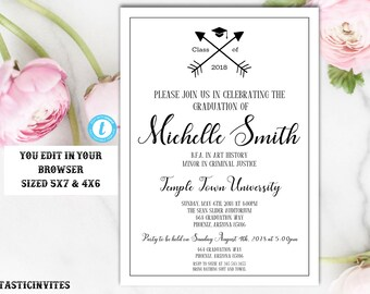 Graduation Invitation Template, Instant Download, Graduation Invite, Class of, High School Graduation Invitation, College Graduation Invite