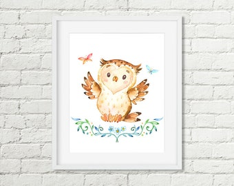 Owl Woodland Animal Nursery Decor Print, Butterfly Watercolor Printable Wall Art, Boys or Girls Art 8x10 11x14 Instant Digital Download