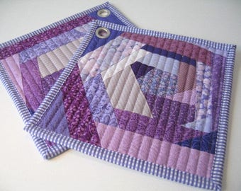 It is all purple Pot holders, Hot pads, Quilted pot holders, fabric hot pads