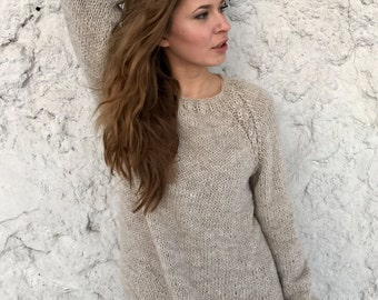 Oversized sweater Taupe sweater Oatmeal sweater Women's sweater Alpaca sweater Plus size sweater