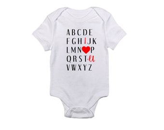 I Love You Alphabet bodysuit, baby, sweet, red, one piece, gift