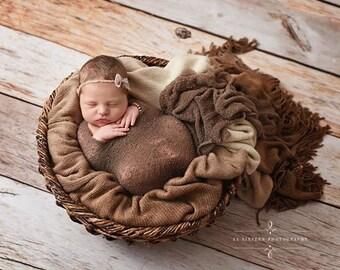 Soft Brown Stretch Knit Wrap Newborn Photography