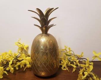 "Large 9.25"" Vintage Brass Pineapple Box"