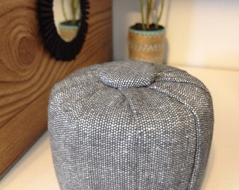 """READY TO SHIP 1:6 Scale Grey Pleated Button Top Ottoman/Stool 10.5""""- 12""""Dolls, Dollhouse Furniture"""