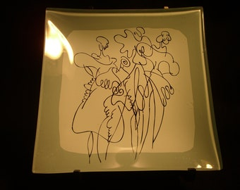 Mid Century Modern Decorative Glass Plate After Picasso Three Female Figural Gray and White Black Line Drawing