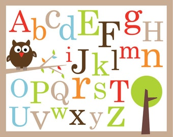 Set of 2 posters 8X10 ABC Alphabet and numbers, Treetop friends Inspired
