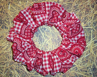 HeartThemed Hair Scrunchie, Ponytail Holder, Fabric Hair Tie, Country Bandanna Hearts