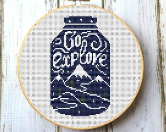 Modern cross stitch pattern PDF Mountains in jar X270