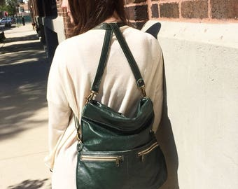 Forest Green Italian Leather Convertible Crossbody – Backpack, Oversized Cluth, Shoulder Bag, 8-in-1, Made in UA