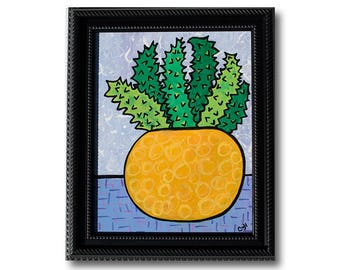 Succulent Art - Succulent Lover Gift - Potted Plant Still LIfe Painting by Claudine Intner - Dining Room or Living Room Decor