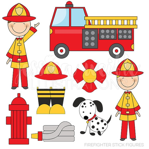 Firefighter Stick Figures Cute Digital Clipart for Card