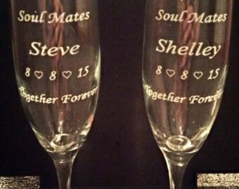 Soul Mates - Set of 2 Personalized Engraved Champagne Flutes