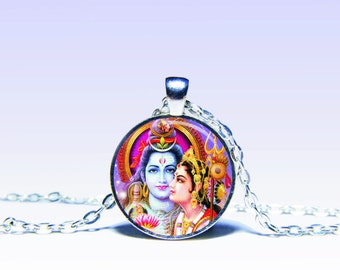 Shiva and Parvati Amulet Pendant Om NECKLACE Jewelery Amulet Charm Pendant for Him or Her
