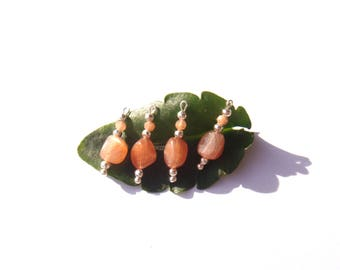 Sunstone / Sun Stone: 4 microphone charms irregular 20 mm tall x about 5 mm wide