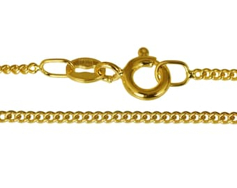 """Italian E-Coated 9ct Gold Plated 1.8mm Diamond Cut Curb Chain 16"""" 18"""" 20"""" 22"""" 24"""" 26"""" 28"""" 30"""" 32"""" 34"""" 36"""" - 40"""" Inch, All Sizes, Necklace,"""