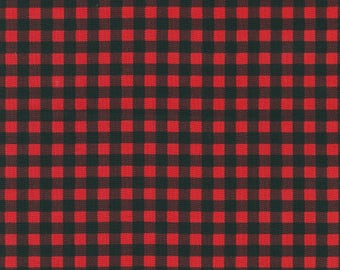 Burly Beaver Red Plaid by Andie Hanna for Robert Kaufman quilting cotton lumberjack fabric material by the yard or metre