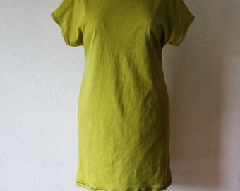 Tshirt dress chartreuse green acid summer festival boho gaia natural dye earth minimalist tunic hippie organic bohemian gypsy tribal clothes