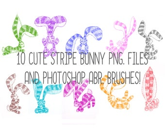 Cute Collection of 10 Hand Drawn Stripy Bunny Rabbits! ABR Brushes, and 10 PNG. Files!