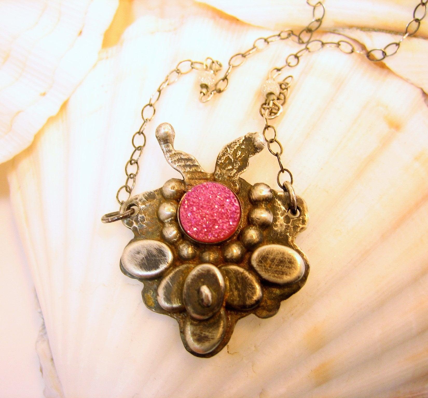 Pink druzy quartz flower pendant necklace, unique pod silver pendant, one of a kind silver pink pod flower necklace