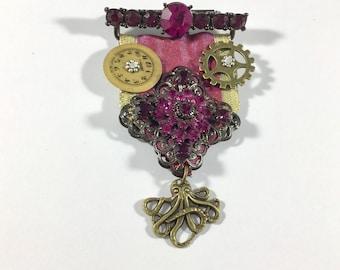 Steampunk Fuchsia Rhinestone Medal Brooch Pin