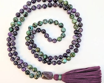 Amethyst and African Turquoise Mala