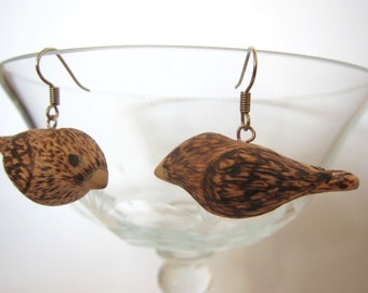 Bird earrings - wooden eco friendly sparrow earrings
