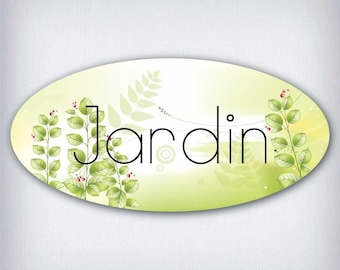 Door decal style oval garden 031