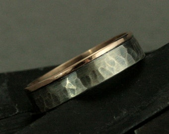 Two Tone Wedding Ring - The Centurion Band - 14K Rose Gold and Sterling Silver Ring - Hammered Ring - Bimetal Band-Rustic Men's Wedding Ring