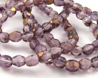 Amethyst with Sapphire Gold 4mm Facet Round Czech Glass Fire Polished Beads 50pc #1157