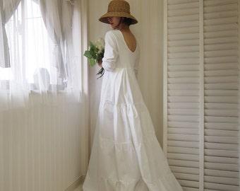 long sleeve wedding dress open back,cotton wedding dress,white maxi dress,simple wedding dress,wedding dress sleeves,beach wedding