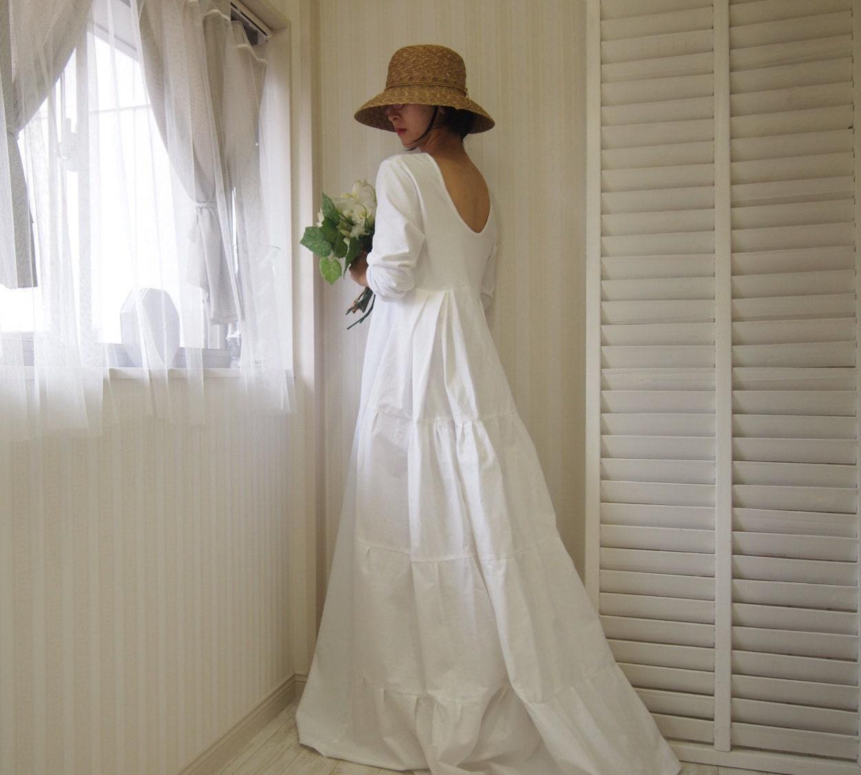 Simple Long White Dress With Sleeves Naf Dresses: Long Sleeve Wedding Dress Open Backbackless Wedding