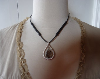 "Vintage Sterling Silver and Smokey Quartz Pendant on 17"" Leather Cord"