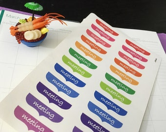 PP067 -- Set of 24pcs colorful Meeting Life Planner Stickers || Perfect 4 Erin Condren, Limelife, Plum Paper, Filofax Planners