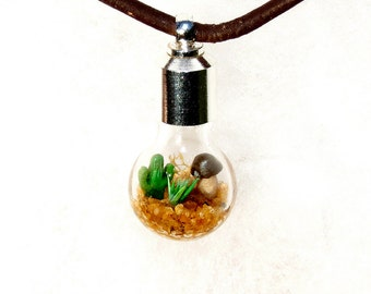 Cactus Terrarium, Men's Lost World Mini Terrarium Necklace, Gift for him, Men's Jewelry, Leather Necklace
