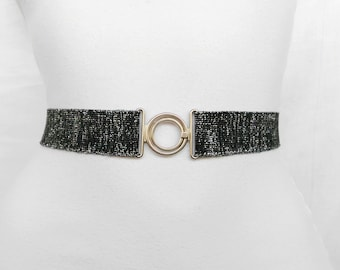 SALE  Silver belt Skinny elastic waist belt Statement accessory Stretch belt Waist cincher Dark silver womens cinch belt