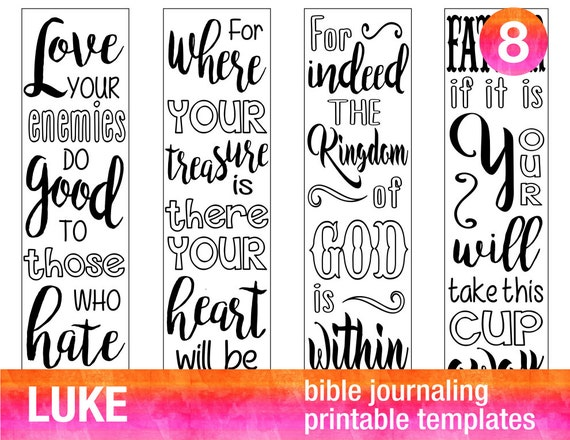 Luke 4 Bible Journaling Printable Templates Illustrated Christian Faith Bookmarks Black And White Verse Prayer