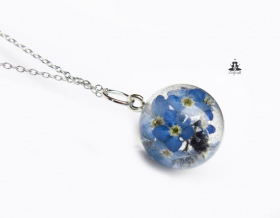 Real Forgetmenot Flowers In Resin   925 Sterling Silver Necklace by Etsy