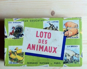 Vintage French loto bingo Game Pieces -loto des animaux, Fernand Nathan, illustrated  animals