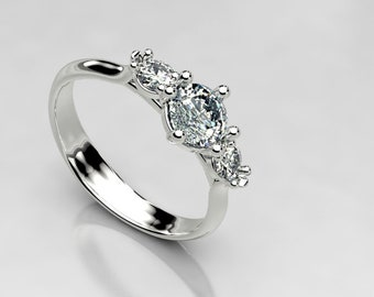 Half Carat 3 Stone Forever One Moissanite Engagement Ring, Made in Gold or Palladium White Gold, Size 4 Palladium Gold Engagement Ring