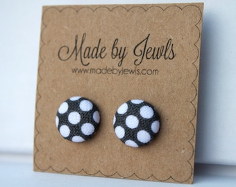 Fabric Covered Button Earrings - Vintage Dot - Gray and White Dot - Buy 3, get 1 FREE