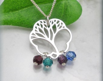 Family Tree Necklace, Mothers Day Birthstone Necklace, Gift for Mom, Family, Mom, Mommy Jewelry, Grandmother, Grandma, Sterling Silver