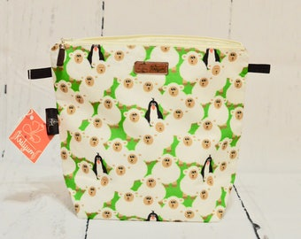 Sweater Project Bag, Zipper Pouch, cosmetic pouch, padded pouch, zip pouch, project pouch, wedge pouch,  knitting bag, crochet bag