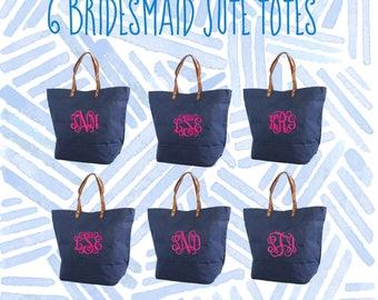 6 Bridal Party Tote Bags | Bridesmaid Gifts | Tote Bag | Bachelorette Party Gift | Destination Wedding Bag | Bridesmaid Bags