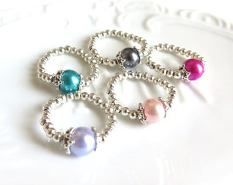 Glass Pearl Silver Stretch Ring - 6 Colors Available
