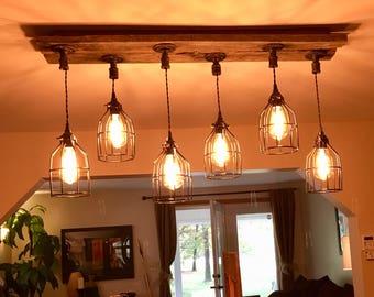 6 industrial cage pendant barn wood chandelier