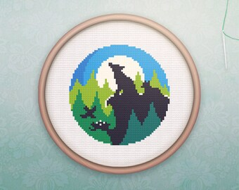 Animal Cross Stitch • Modern Wolf Cross Stitch Pattern • Modern Hoop Art • Easy Counted Cross Stitch PDF •  Howling Wolf XStitch Pattern