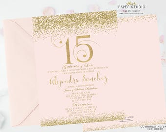 Blush Gold Quinceanera, Sweet 16, Quinceanera Invite, Birthday Invitation, Custom Invitation, Confetti Birthday, Elegant Invitation, BDQ091