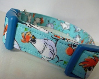 "Chicken Dog Collar - Girl Dog Collar, Boy Dog Collar-White and Orange on Turquoise-Farm Dog Collar- ""Chicken Little"" -Free Colored Buckles"