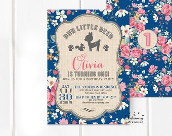 ANY AGE Girl Woodland Birthday Invitation Navy Blue Floral Deer Birthday Party Invitation Digital Printable No.288KIDS